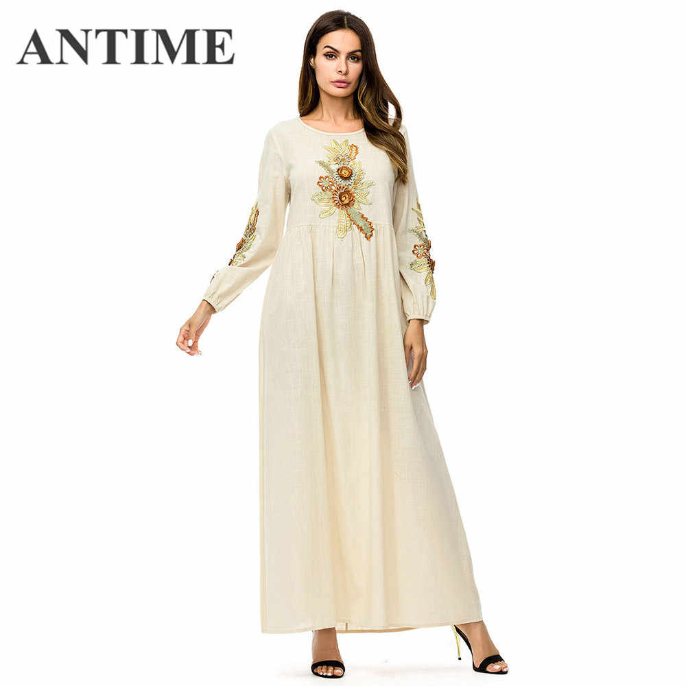 ab94b49ae2e8e Detail Feedback Questions about ANTIME Embroidery Maxi Dresses Long ...