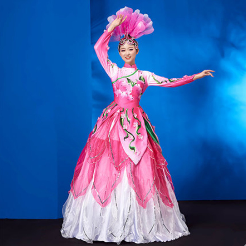 eb714901f20b musical dancing flower modern dance dress for women opening dance new year performance  clothing festival dancing costumes-in Chinese Folk Dance from Novelty ...