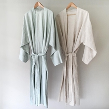 7 Colors.Women Sleepwear Linen Pajamas Robes.Breathable Shower Spa Linen Robe Night Bathrobes Sleep Nightgown Robe Dressing Gown