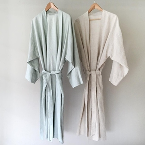 Image 1 - 7 Colors.Women Sleepwear Linen Pajamas Robes.Breathable Shower Spa Linen Robe Night Bathrobes Sleep Nightgown Robe Dressing Gown