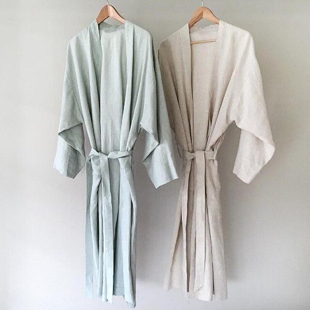7 Màu. Phụ Nữ Đồ Ngủ Vải Lanh Bộ Đồ Ngủ Áo Choàng. Thoáng Khí Tắm Spa Lanh Áo Dây Đêm Áo Choàng Tắm Ngủ Váy Ngủ Áo Choàng Áo Đầm Xếp Ly