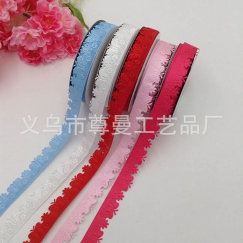 Unilateral Small Flower Embossed Ribbon Belt Craft Edging Classic Clothing Home Decoration Accessories Material Polyester