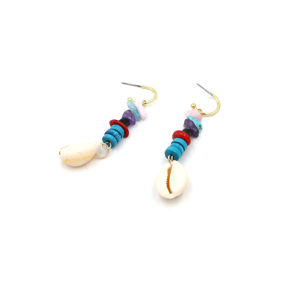 2019 Summer Hot Colorful Natural Sea Shell Drop Earrings Round Metal Handmade Stone Statement Jewelry Women's Boho Earrings