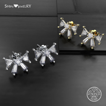 Shipei 100% 925 Sterling Silver White Sapphire Gold Yellow Butterfly Stud Earrings for Women Fine Jewelry