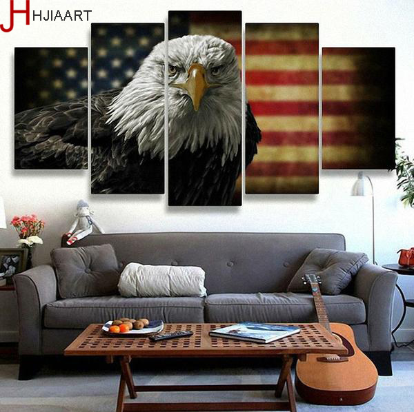 HJIAART Printed America Flag Eagle Painting On Canvas Room Poster US Picture Canvas Fram ...