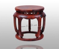 Chinese Arts Crafts Burma Rosewood Round Bench Home Decoration Antique Furniture Living Room Low Shoes Stool