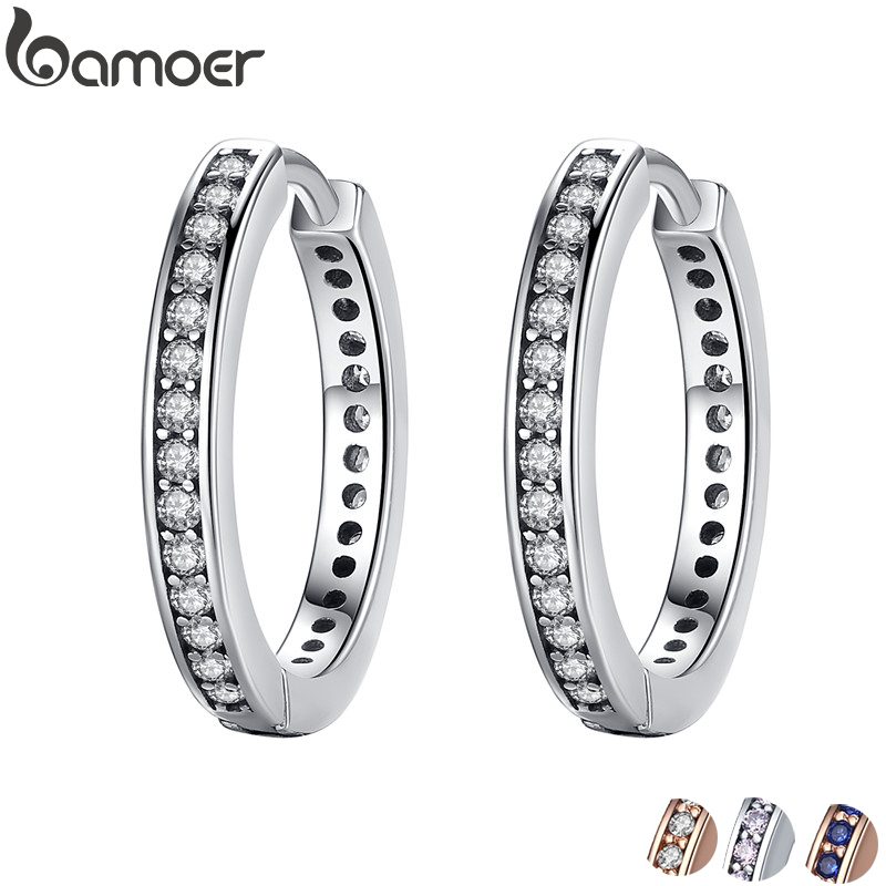 2018 Mother's Day DEALS 925 Sterling Silver CZ Simple Female Hoop Earrings Jewelry for Women Sterling Silver Jewelry PAS456