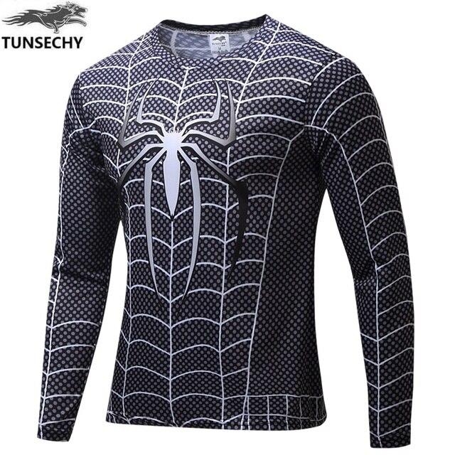 Màu đen và đỏ spider man o-cổ casual t-shirt sơ mi nam t Haney nối dài tay áo t-shirt Nam T Áo Sơ Mi nam kích thước xs-4xl