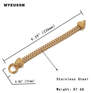 Image 2 - 316L Stainelss Steel Lion Head Bracelet Clasp Double Foxtail Box Link chain bangle Men Gift Charm Fashion Hip Hop Jewelry