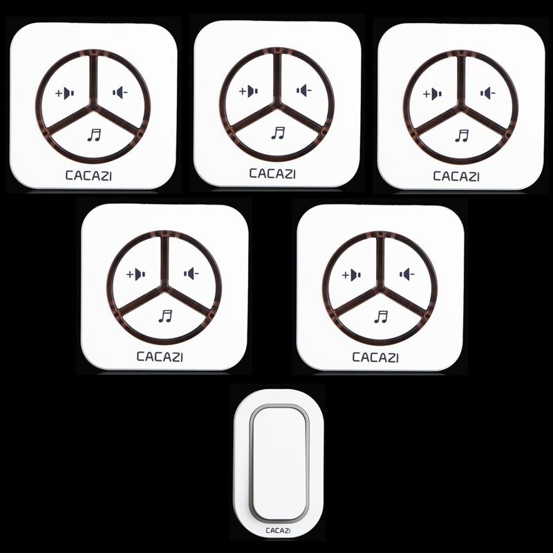 ФОТО New  Waterproof  Plug-in Wireless Door Bell Push Button with 1 Outdoor Transmitter + 5 Indoor Wireless Doorbell Receiver
