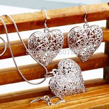 new wedding free shipping Plated silver jewelry fashion cute Pretty Heart Necklace Earring women party set TOP quality p218
