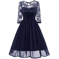 New Arrival High Quality Autumn Women Classic Lace Hollow Neck And Sleeve Dresses Lady Vintage Dress