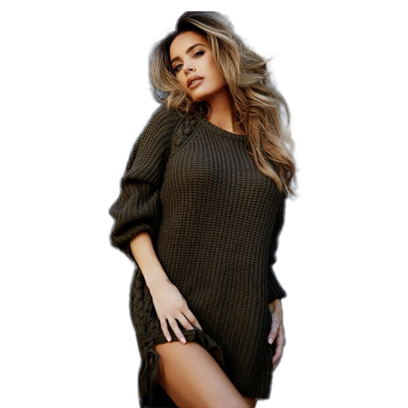 Casual Loose Long Sleeve Round Neck Knitted Sweater Dress Fashion Pullover Side Split Grey/Black Mini Dress