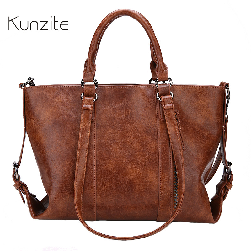 KUNZITE Leather Women Handbags Big Women Bag High Quality Casual Female Bags Trunk Tote Brand Shoulder Bag Ladies Large Bolsos 2017 women handbags ladies leather commuter office tote bag high quality women bag