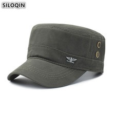 SILOQIN Adjustable Size 100% Cotton Army Military Hats Adult Mens Flat Caps 2019 New Summer Mesh Breathable Fashion Panama Cap