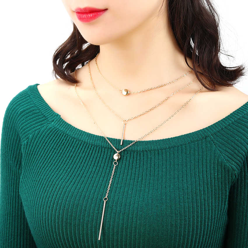 ファッションジュエリーレイヤードチェーンネックレス女性ネックレスペンダントタッセルチャームバーステートメント 3 多層ネックレス
