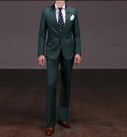 Side Vent Groomsmen Notch Lapel Groom Tuxedos Dark Green Mens Suits Wedding Best Man (Jacket+Pants+Tie+Hankerchief) B8226