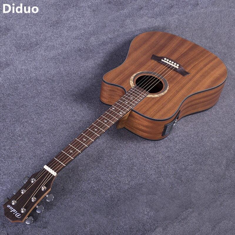 Diduo 41 pouces guitare acoustique Folk guitare palissandre touche Sapele Guitarra avec cinq segments équilibre EQ couleur bois