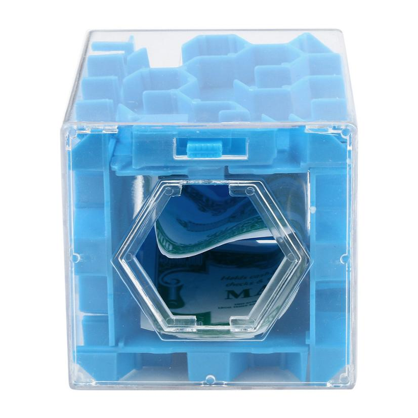 Puzzle 3D Cube Puzzle Money Maze Bank Saving Coin Collection Case Box Fun Brain Game D40