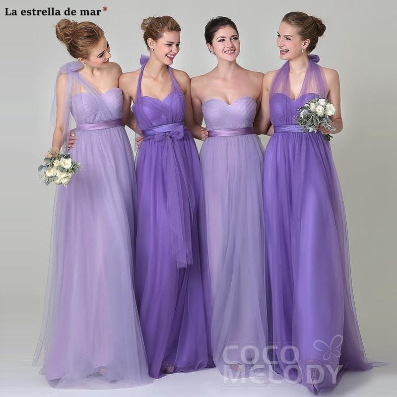 Robe Demoiselle D'honneur Hot Sale Gauze ALine Half Sleeve Convertible Lavender Purple Bridesmaid Dress Long Vestido Madrinha