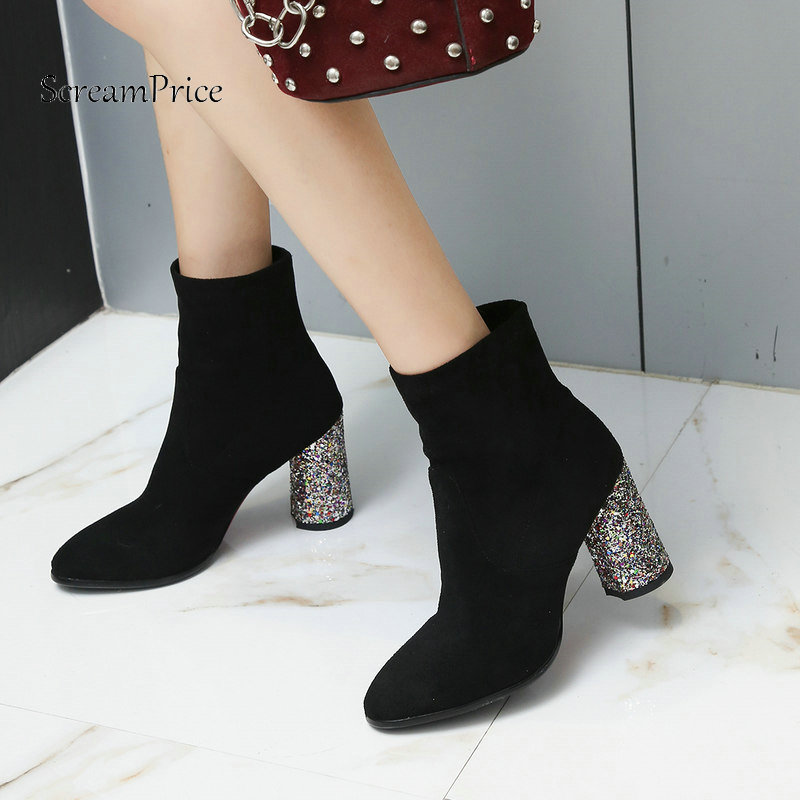 Woman Bling Sqaure High Heel Slip On Ankle Boots Fashion Pointed Toe Dress Boots Woman Black Brown