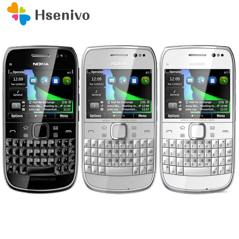 E6 Refurbished Original Unlocked Nokia E6 E6-00 2.4'inch 8MP Camera 3G WIFI Bluetooth FM Symbian OS Mobile Phone Free Shipping