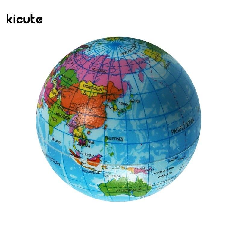 Cute Mini Foam World Globe Teach Education Earth Geography Toy Map Elastic Ball Model Crafts Educational Supply Gifts 7.5cm