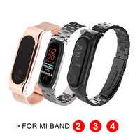 Bracelet métal Ollivan pour Xiao mi bande 2 3 4 Bracelet sangles acier inoxydable magnétique mi Band2 Band3 Band4 accessoires remplacer