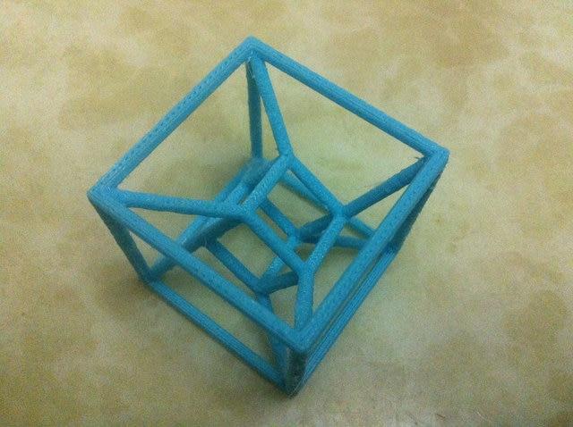 tesseract hypercube 3d printing cube 4 dimensions 4d cube 3d printed