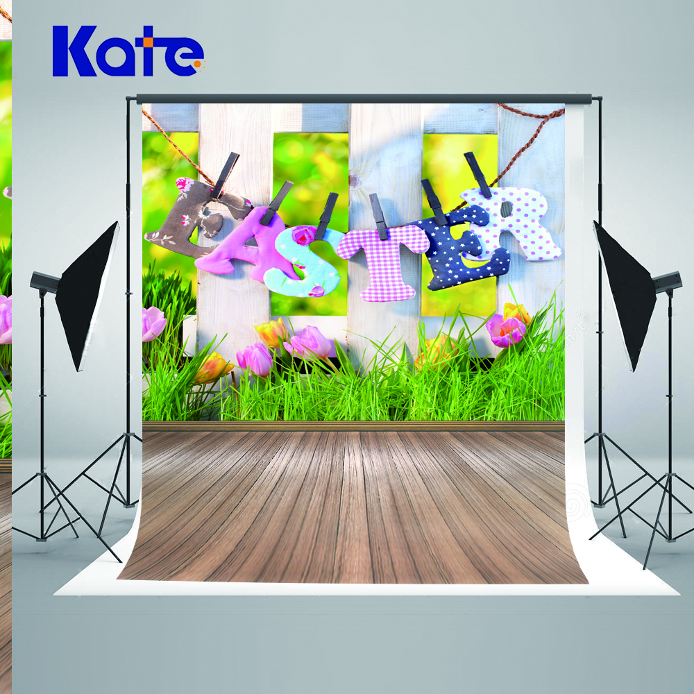 5x7ft Kate Děti Velikonoční Pozadí Fotografie Jarní Květina Fotografie Pozadí Dřevěná podlaha Fotografie Pozadí