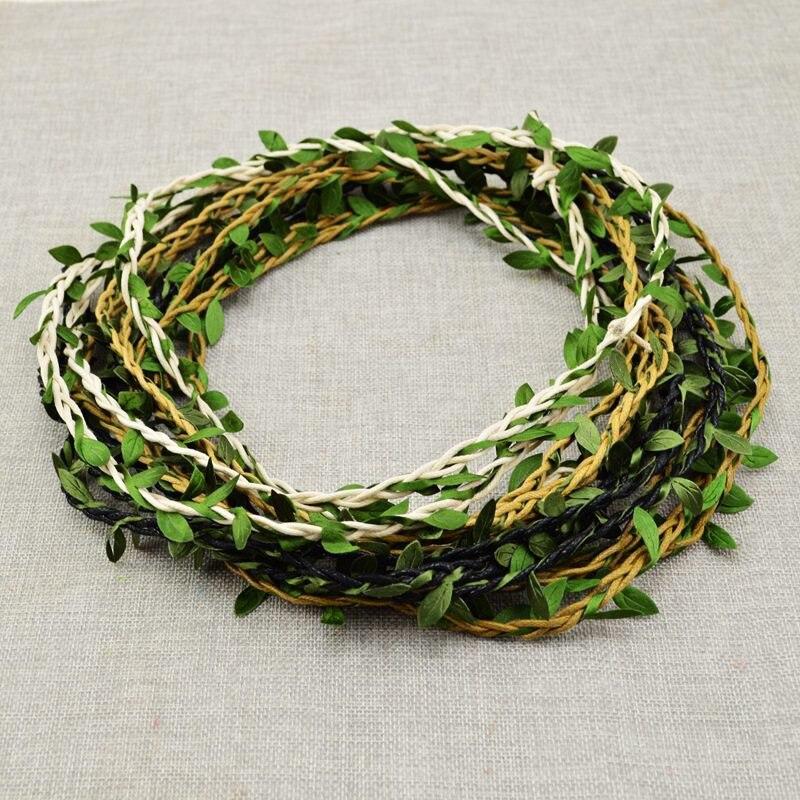 100CM/lot Artificial Flower Vine Rattan Wedding Car Decoration DIY Wreath Silk Garland Green Leaf for Home Bride headband