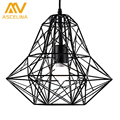 Black /White Iron Modern Pendant Light Wrought Iron Cage Droplight Vintage Pendant Lamps Foyer Lamp Loft Light Free Shipping