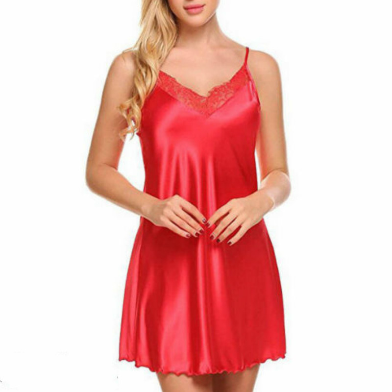 Sexy Ladies Solid Night Dress Sleeveless Nighties V-neck Nightgown Summer Nightdress Lace Sleepwear For Women 4 Colors