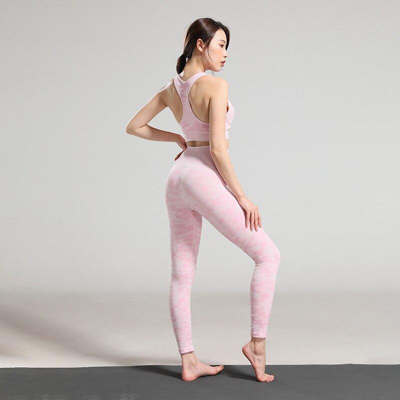 Tenue de sport pour femmes Gym vêtements d'entraînement ensemble Yoga pantalon course Fitness sport Camo soutien-gorge vêtement de sport fin femmes 2 pièces ensemble