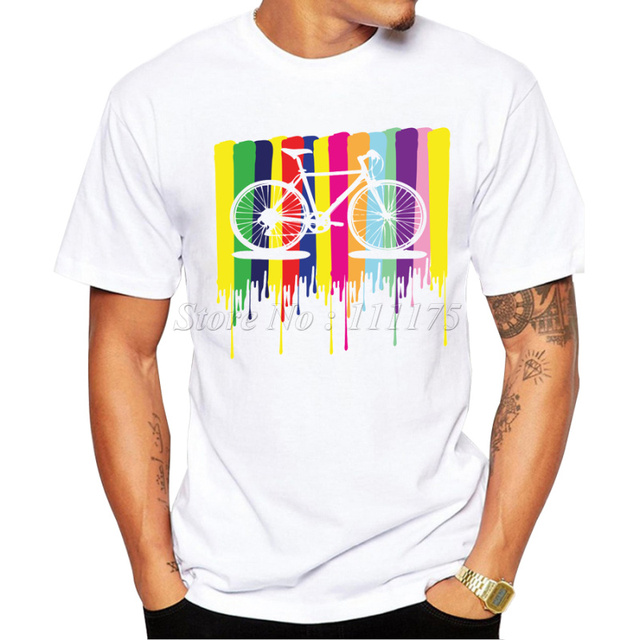9e01e194 2019 Fashion Men's Rainbow Bicycle Design T Shirt Male Cool Tops Hipster  Printed Summer Tees