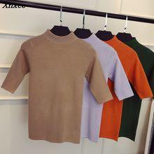 2018 new spring Korean half sleeve shirt collar solid elastic thin sweater five Sleeve Sweater Girl Xnxee цены