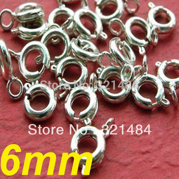 500pcs 6mm Bright Silver Plated Spring Clasp/Ring Clasp Jewelry Findings Accessories Free ashipping