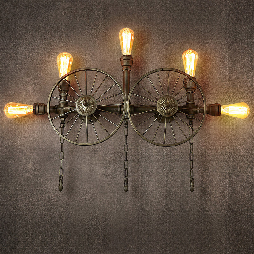 Vintage Water Pipe LED Wall Lamps Wall Edison American Industrial Retro Club Bar Sconce Lamp Wall Lights with E27 Bulbs FixturesVintage Water Pipe LED Wall Lamps Wall Edison American Industrial Retro Club Bar Sconce Lamp Wall Lights with E27 Bulbs Fixtures