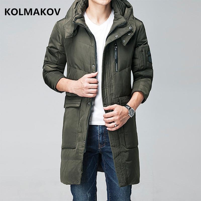 2018 men's   Down     Coat   Winter fashion   Down   Jacket men hooded Thicken white duck   down   jakcets men Black and green size M-XXXL