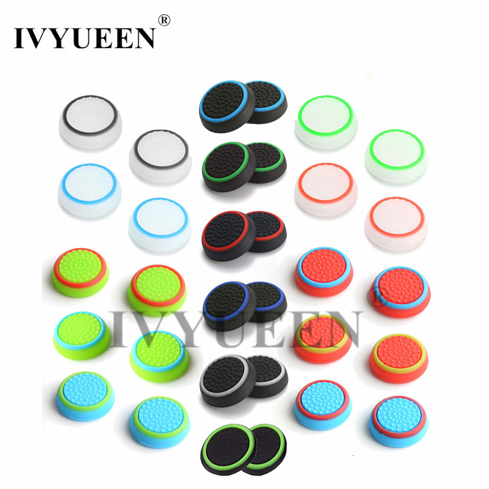 4 pcs Silicone Analog Thumb Stick Grips Cover for PlayStation 4 PS4 Pro Slim for PS3 Controller Thumbstick Caps for Xbox 360 One wearable controller accessory kits button caps for ps4 xbox one 8pcs