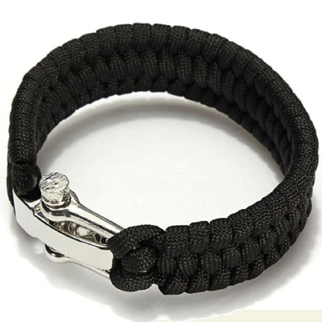New 4mm Paracord 550 Survival Bracelet Outdoor Climbing Rope Rescue Cord Steel Shackle Buckle Camping