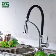 Смеситель для кухни черный и хром вытащить 360 градусов вращающийся весенний стиль кухня водопроводной воды черный, холодной и горячей, Раковина Нажмите 100306