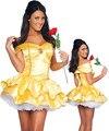 Hight qualidade poliéster sexy lady amarelo princess dress roupas de palco traje festa de halloween para adultos mulheres cosplay uniforme
