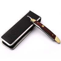Top High Quality Stainless Wood Razor Straight Blades Double Edge Copper Manual Shaver Classic Fashioned Scraper