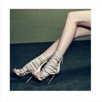 Элегантный Золотой Кристалл с заклепками босоножки на высоком каблуке женщина с перекрестной шнуровкой пикантные туфли с открытым носком