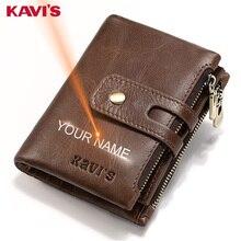 KAVIS 무료 판화 이름 정품 가죽 지갑 남성 포트폴리오 선물 남성 Cudan Portomonee Perse 동전 지갑 포켓 머니 백