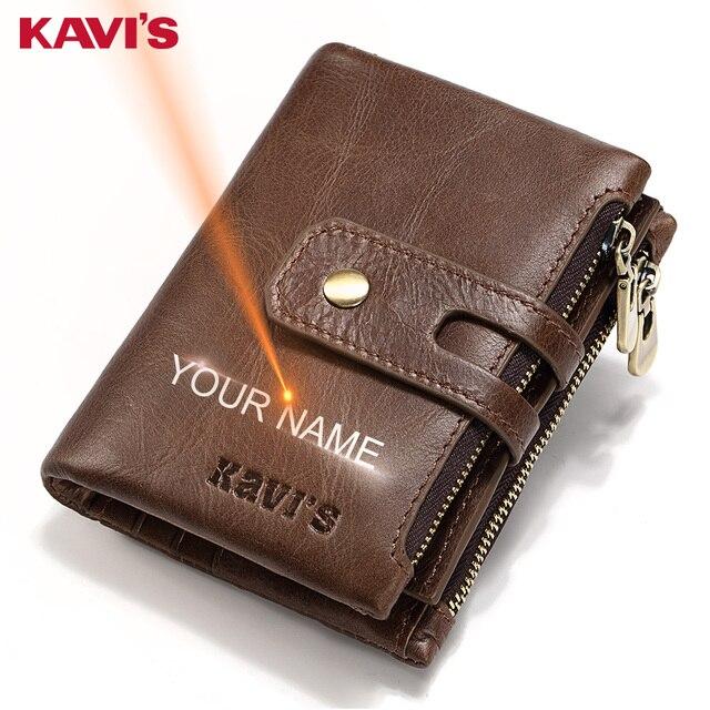 KAVIS משלוח חריטה שם עור אמיתי ארנק גברים תיק מתנת זכר Cudan Portomonee Perse מטבע ארנק כיס כסף תיק