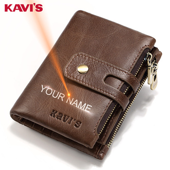KAVIS Free Engraving Name Genuine Leather Wallet Men PORTFOLIO Gift Male Cudan Portomonee Perse Coin Purse Pocket Money Bag