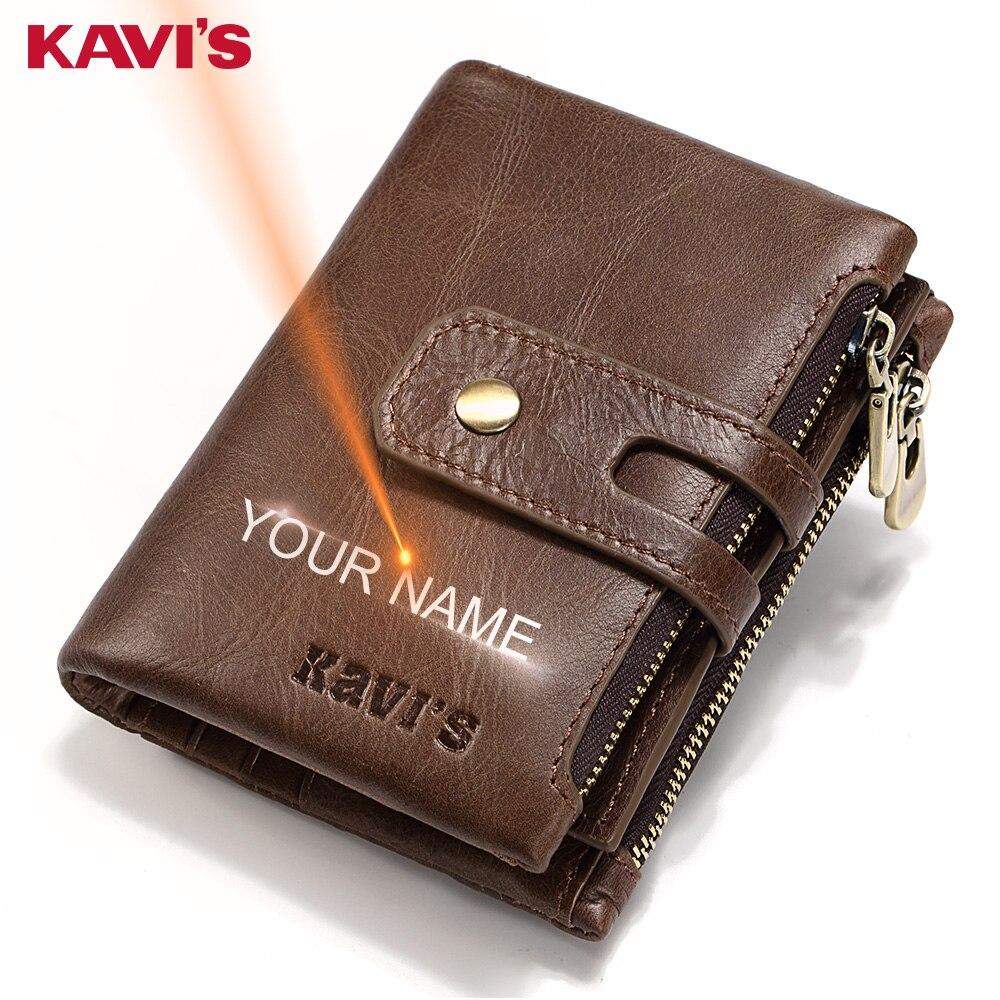 KAVIS Freies Gravur Name Echtes Leder Brieftasche Männer PORTFOLIO Geschenk Männlichen Cudan Portomonee Perse Geldbörse Tasche Geld Tasche