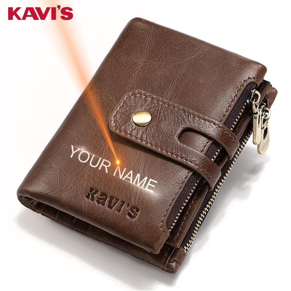 KAVIS grabado nombre hombres Cartera de cuero genuino de la cartera, regalo hombre Cudan Portomonee Perse de La Moneda monedero bolsillo bolsa de dinero